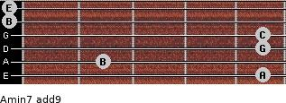 Amin7(add9) for guitar on frets 5, 2, 5, 5, 0, 0