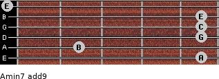 Amin7(add9) for guitar on frets 5, 2, 5, 5, 5, 0