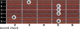 Amin9 for guitar on frets 5, 2, 5, 5, 5, 3