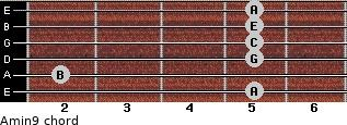 Amin9 for guitar on frets 5, 2, 5, 5, 5, 5