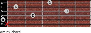 Amin9 for guitar on frets x, 0, 2, 4, 1, 3