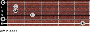 Amin(add7) for guitar on frets 5, 0, 2, 1, 1, 0