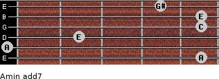 Amin(add7) for guitar on frets 5, 0, 2, 5, 5, 4