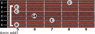 Amin(add7) for guitar on frets 5, 7, 6, 5, 5, 8