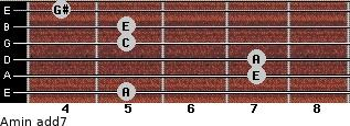 Amin(add7) for guitar on frets 5, 7, 7, 5, 5, 4