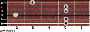 Aminor11 for guitar on frets 5, 5, 2, 5, 5, 3