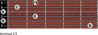Aminor13 for guitar on frets 5, 0, 2, 0, 1, 2