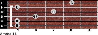 Am(maj11) for guitar on frets 5, 5, 6, 7, 5, 8