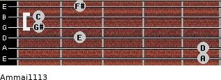 Am(maj11/13) for guitar on frets 5, 5, 2, 1, 1, 2