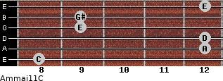 Am(maj11)/C for guitar on frets 8, 12, 12, 9, 9, 12
