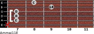 Am(maj11)/E for guitar on frets x, 7, 7, 7, 9, 8