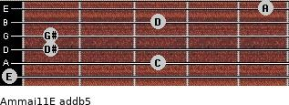 Am(maj11)/E add(b5) for guitar on frets 0, 3, 1, 1, 3, 5