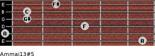 Am(maj13)#5 for guitar on frets 5, 0, 3, 1, 1, 2