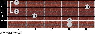 Am(maj7)#5/C for guitar on frets 8, 8, 6, 5, 9, 5