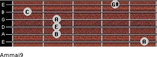 Am(maj9) for guitar on frets 5, 2, 2, 2, 1, 4
