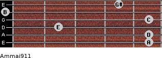 Am(maj9/11) for guitar on frets 5, 5, 2, 5, 0, 4