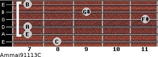 Am(maj9/11/13)/C for guitar on frets 8, 7, 7, 11, 9, 7