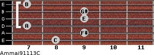 Am(maj9/11/13)/C for guitar on frets 8, 9, 7, 9, 9, 7