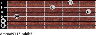 Am(maj9/11)/E add(b5) for guitar on frets 0, 0, 1, 5, 3, 4