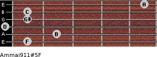 Am(maj9/11)#5/F for guitar on frets 1, 2, 0, 1, 1, 5