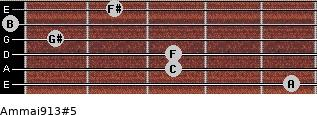 Am(maj9/13)#5 for guitar on frets 5, 3, 3, 1, 0, 2