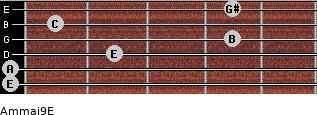 Am(maj9)/E for guitar on frets 0, 0, 2, 4, 1, 4