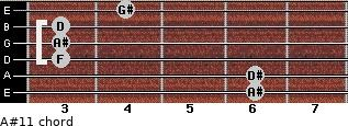 A#11 for guitar on frets 6, 6, 3, 3, 3, 4