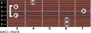 A#11 for guitar on frets 6, 6, 3, 7, 3, 4