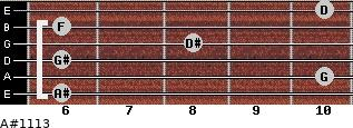 A#11/13 for guitar on frets 6, 10, 6, 8, 6, 10
