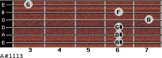 A#11/13 for guitar on frets 6, 6, 6, 7, 6, 3