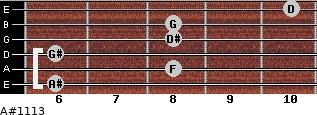 A#11/13 for guitar on frets 6, 8, 6, 8, 8, 10