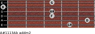 A#11/13/Ab add(m2) for guitar on frets 4, 5, 3, 3, 0, 3