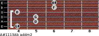 A#11/13/Ab add(m2) for guitar on frets 4, 5, 5, 4, 6, 6