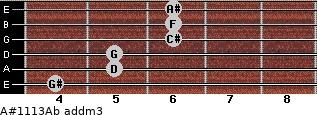 A#11/13/Ab add(m3) for guitar on frets 4, 5, 5, 6, 6, 6