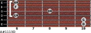 A#11/13/D for guitar on frets 10, 10, 6, 8, 6, 6