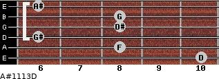 A#11/13/D for guitar on frets 10, 8, 6, 8, 8, 6