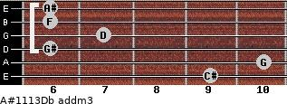 A#11/13/Db add(m3) guitar chord