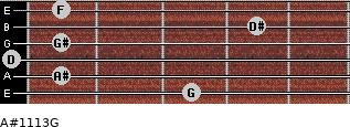 A#11/13/G for guitar on frets 3, 1, 0, 1, 4, 1