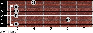 A#11/13/G for guitar on frets 3, 6, 3, 3, 3, 4
