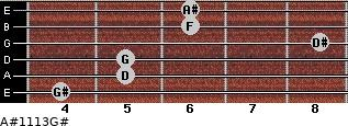 A#11/13/G# for guitar on frets 4, 5, 5, 8, 6, 6