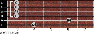 A#11/13/G# for guitar on frets 4, 6, 3, 3, 3, 3