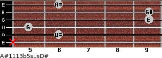 A#11/13b5sus/D# for guitar on frets x, 6, 5, 9, 9, 6