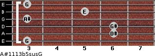 A#11/13b5sus/G for guitar on frets 3, 6, 6, 3, 5, 3