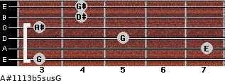 A#11/13b5sus/G for guitar on frets 3, 7, 5, 3, 4, 4