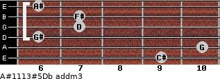A#11/13#5/Db add(m3) for guitar on frets 9, 10, 6, 7, 7, 6