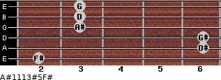 A#11/13#5/F# for guitar on frets 2, 6, 6, 3, 3, 3