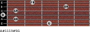 A#11/13#5/G for guitar on frets 3, 1, 0, 1, 4, 2