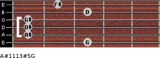 A#11/13#5/G for guitar on frets 3, 1, 1, 1, 3, 2