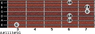 A#11/13#5/G for guitar on frets 3, 6, 6, 7, 7, 6