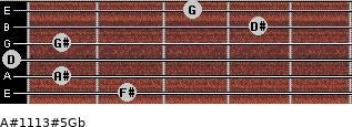 A#11/13#5/Gb for guitar on frets 2, 1, 0, 1, 4, 3